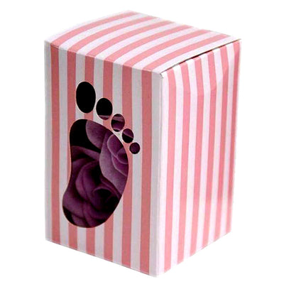 100 PCS Pink Baby Foot Favor Boxes Shower Birthday Party Favor Gift Container