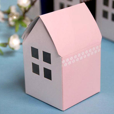100 PCS Pink House Favor Boxes