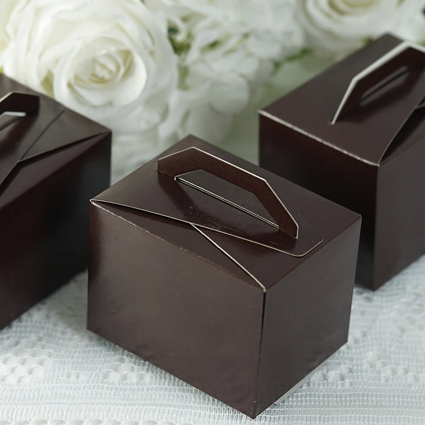 "100 PCS | Chocolate Tote Favor Boxes - 4""x3""x3"""