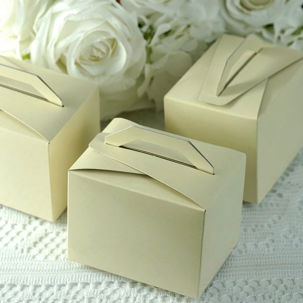 "100 PCS | Ivory Tote Favor Boxes - 4""x3""x3"""