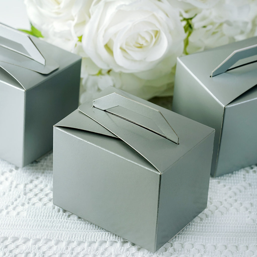 100 Tote Favor Boxes - Silver