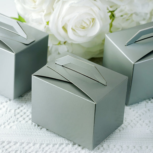"100 PCS | Silver Tote Favor Boxes - 4""x3""x3"""