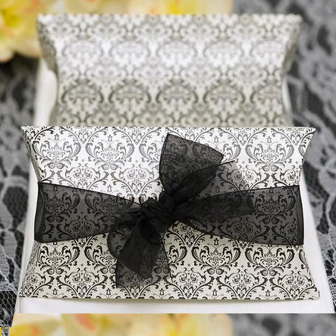 Stylish Flocking Pillow Favor Box-100pc Black/White