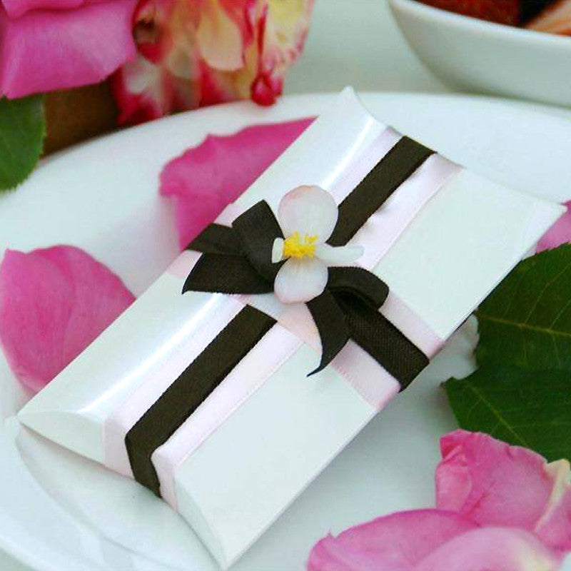 Stylish White Pillow Favor Box-100pc