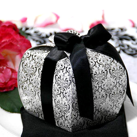 Black/White Flocking Cupcake Purse Favor Boxes -100pc