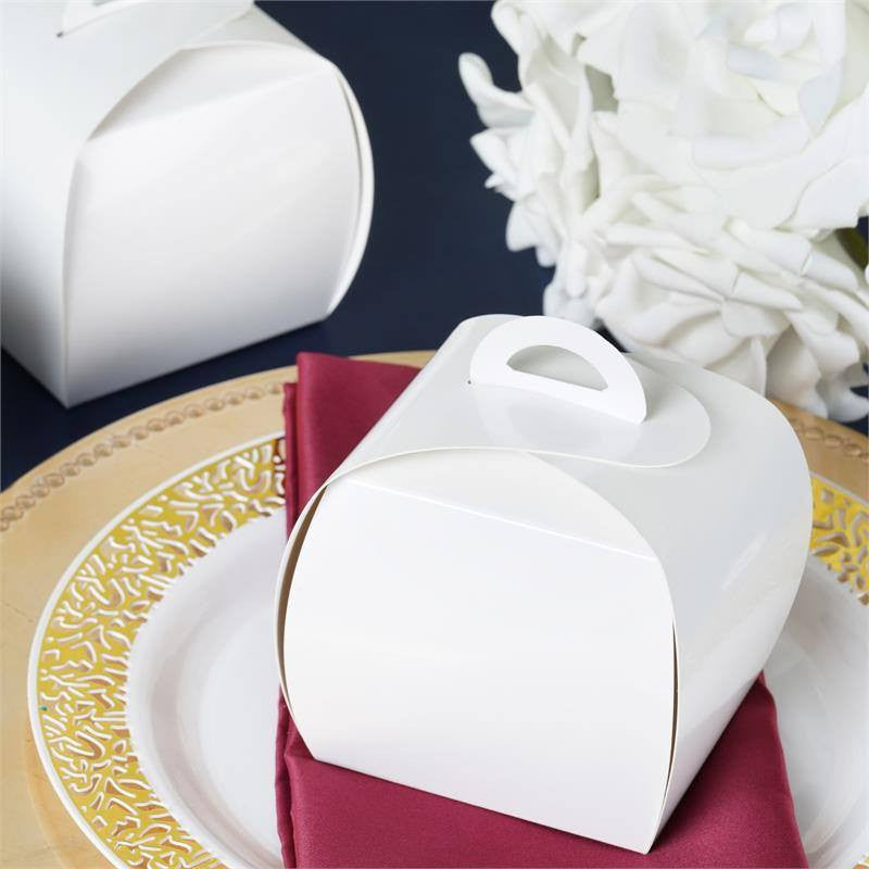 White Cupcake Purse Favor Boxes-100pc