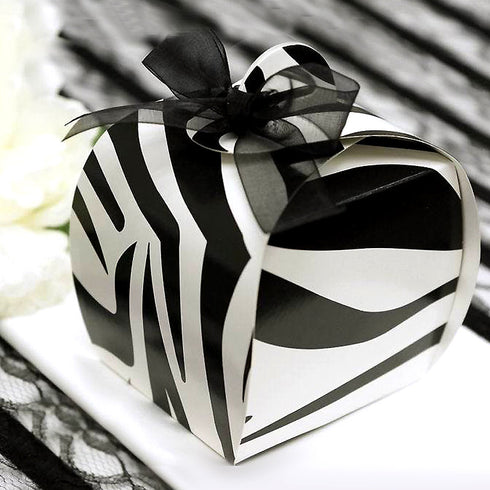 100 PCS Black/White Cupcake Zebra Party Favor Boxes | Jungle Theme Party Decoration