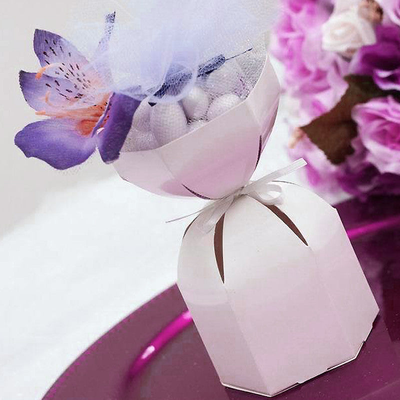 100pcs White Wedding Dress Favor Boxes Candy Favor Box For Wedding