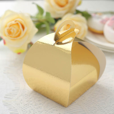 25 Pack Pastry Cupcake Muffin Bakery Favor Boxes - Gold