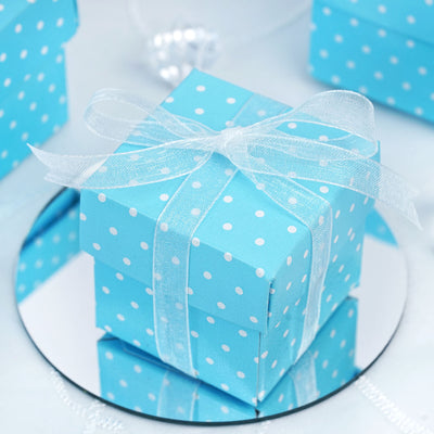 100 Pack Blue With White Polka Dots 2 Pcs Favor Boxes Efavormart