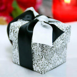 Black/White Flocking 2 pc Favor Boxes-100pc