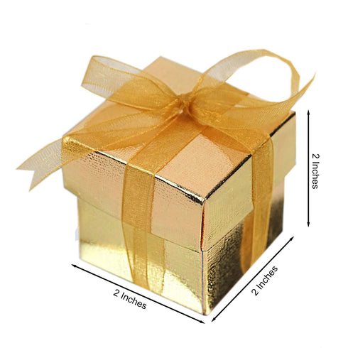 "100 Pack | Gold 2"" square 2 Pcs Favor Boxes"
