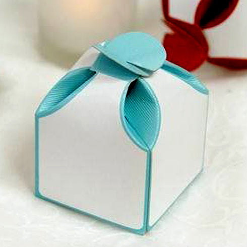 Dual Tone Turquoise Bridal Shower Party Favor Gift Boxes - 100 pcs