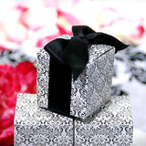 "100 PCS 2"" x 2"" Black/White Flocking Favor Boxes"