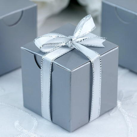 100 PCS 2  x 2  Silver Favor Boxes : wedding gift boxes for guests - medton.org