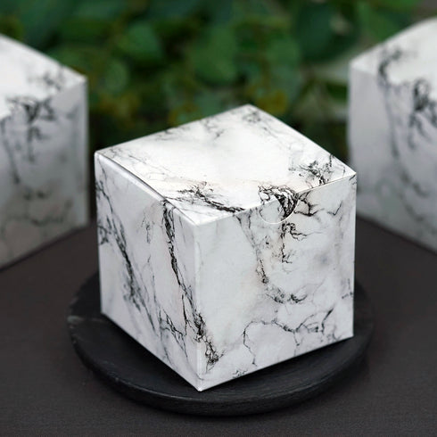 "50 PCS 3"" x 3"" Marble Design 2 pcs Favor Boxes"