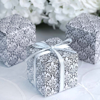 100 PCS Wholesale Flocking Favor Gift Cake Boxes - Black/White - 3x3x3