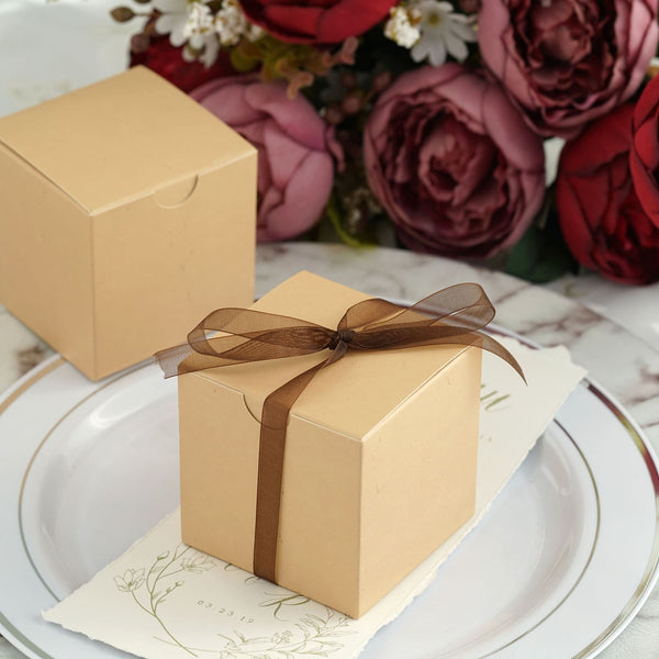 "100 Pcs - 3"" x 3"" Tan Party Candy Boxes - Wedding Favor Boxes"