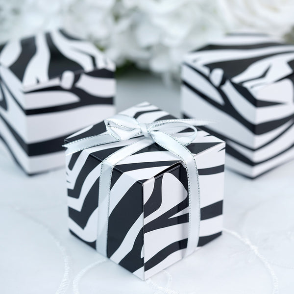 100 PCS | Square Black/White Zebra Party Favor Boxes | Jungle Theme Party Decoration