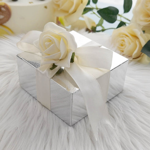 "100 PCS | 4""x4""x2"" Silver Cake Party Favor Boxes"