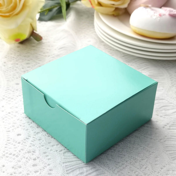 "100 PCS | 4""x4""x2"" Turquoise Cake Party Favor Boxes"