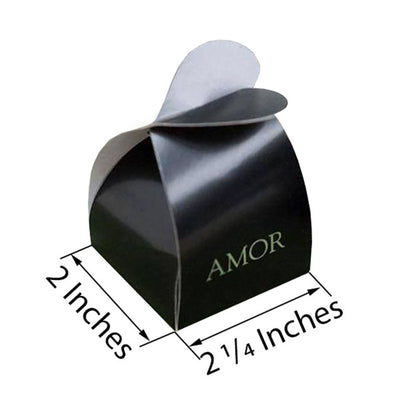 100 PCS Black Amor Favor Boxes