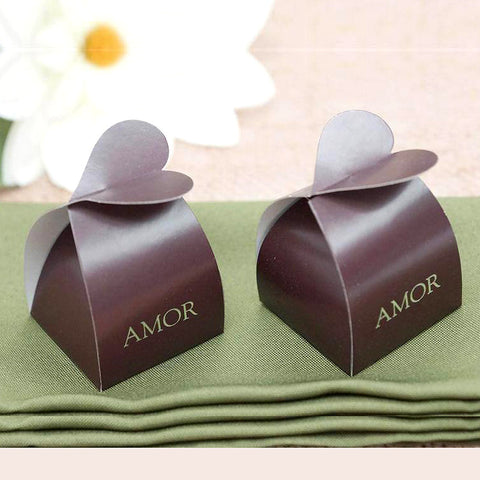 100 PCS Chocolate Amor Bridal Shower Party Favor Gift Boxes