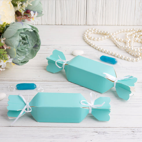 25 Pack - Candy Shape Favor Boxes with Satin Ribbons - Turquoise Cardboard Wedding Gift Boxes