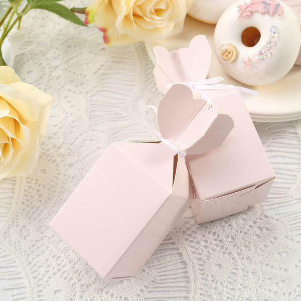 25 Pack - Vase Shape Favor Boxes with Satin Ribbons - Blush Cardboard Wedding Gift Boxes