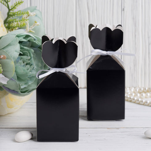 25 Pack - Vase Shape Favor Boxes with Satin Ribbons - Black Cardboard Wedding Gift Boxes