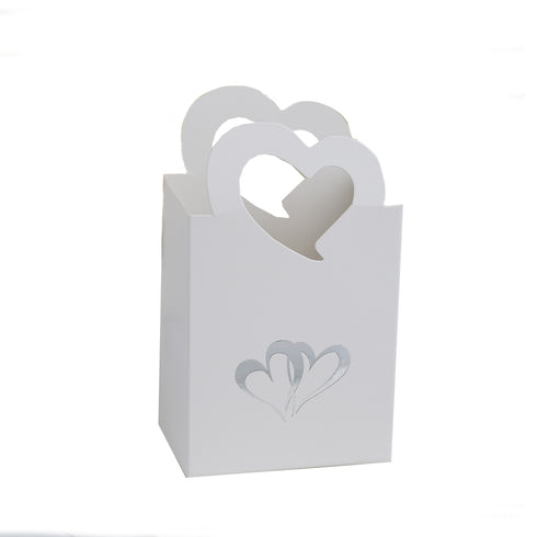 25 Pack Silver Heart Basket Favor Boxes