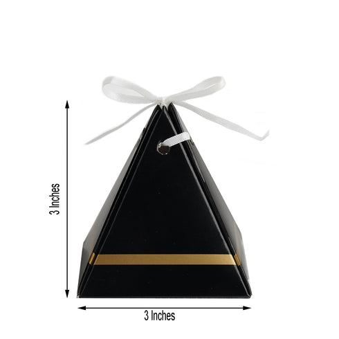 25 Pack - Black Pyramid Party Favor Boxes with Satin Ribbons - Card Stock Wedding Gift Boxes