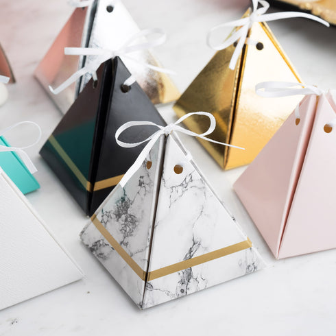 25 Pack - Metallic Gold Pyramid Party Favor Boxes with Satin Ribbons - Card Stock Wedding Gift Boxes