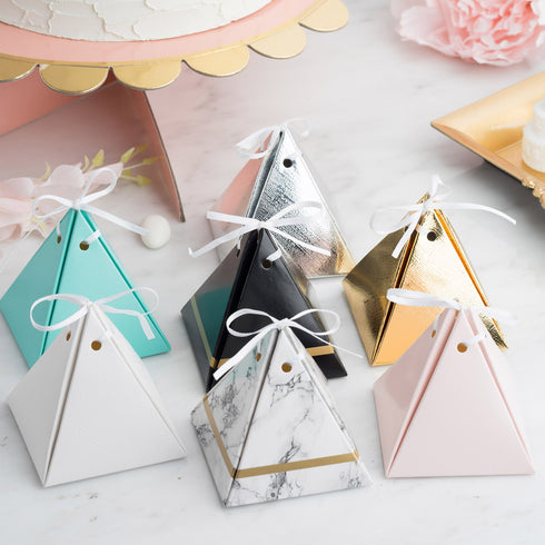 25 Pack - White Pyramid Party Favor Boxes with Satin Ribbons - Card Stock Wedding Gift Boxes