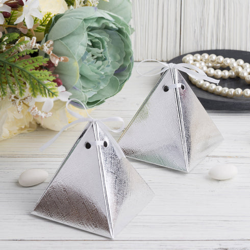 25 Pack - Metallic Silver Pyramid Party Favor Boxes with Satin Ribbons - Card Stock Wedding Gift Boxes