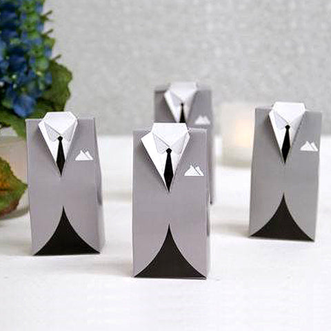 Silver Tuxedo Wedding Shower Party Favor Gift Boxes - 100 pcs