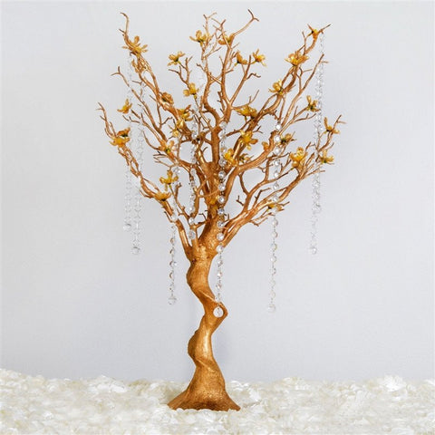 "30"" Manzanita Centerpiece Tree with Flower Branches - Metallic Gold"