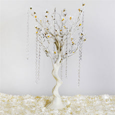 "30"" Glittered Vogue Manzanita Centerpiece Tree with Flower Tipped Branches - White( Sold Out )"