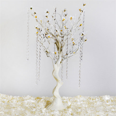 "30"" Glittered Vogue Manzanita Centerpiece Tree with Flower Tipped Branches - White"