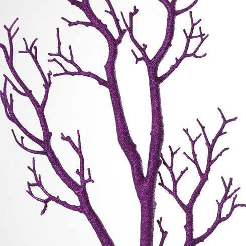 "32"" Vogue Manzanita Centerpiece Glittered Branches - Purple 4/pk"