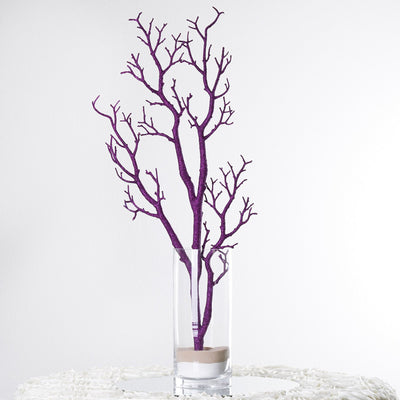 "4 Pack 32"" Glittered Purple Manzanita Tree"