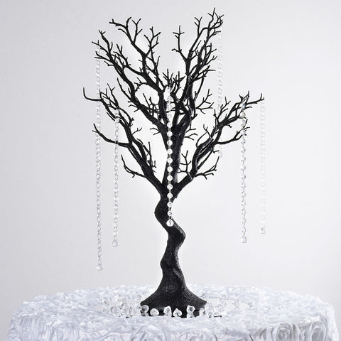 "30"" Glittered Vogue Manzanita Centerpiece Tree - Black"