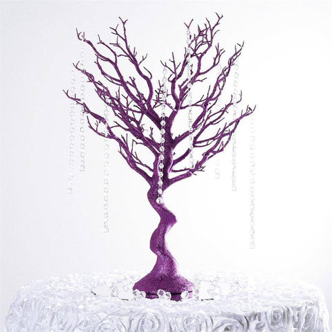 "30"" Glittered Vogue Manzanita Centerpiece Tree - Purple"