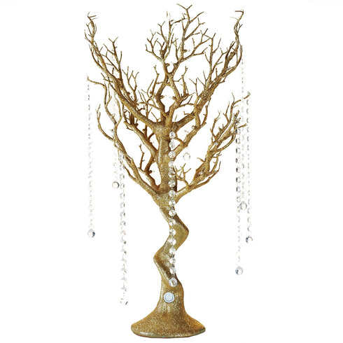 Gold Battery Operated Glittered Manzanita Tree Centerpiece With LED Lights + 8pcs Acrylic Chains