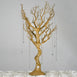 Battery Operated Glittered Gold Manzanita Tree Centerpiece With LED Lights + 8pcs Acrylic Chains