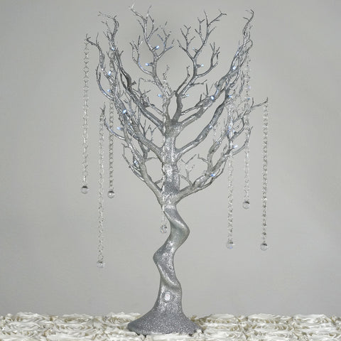 Battery Operated Glittered Manzanita Tree SIilver Centerpiece For Wedding Party Event Table Top Decoration With LED Lights + 8pcs Acrylic Chains