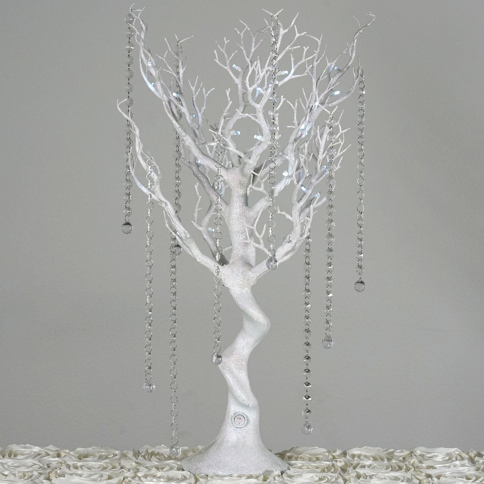 Battery Operated Glittered White Manzanita Tree Centerpiece For Wedding  Party Event Table Top Decoration With LED Lights + 8pcs Acrylic Chains