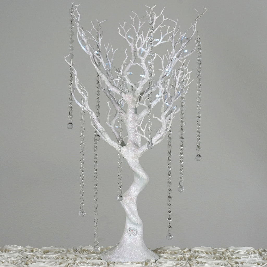 Quot glittered vogue manzanita centerpiece tree with led