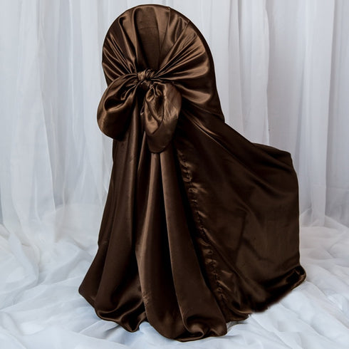 Chocolate Universal Satin Chair Cover