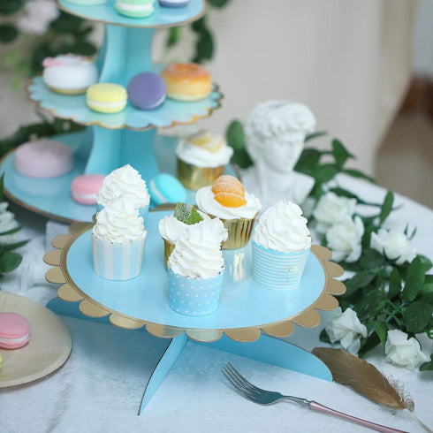 "1 Tier - 13"" Blue Cardboard Cupcake Stand - Gold Scalloped Edge Mini Dessert Cake Holder"